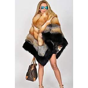 cheap Wedding Wraps-Long Sleeve Capes Raccoon Fur Wedding Women's Wrap With Fur / Color Block