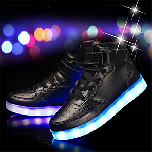 cheap Fishing Lures & Flies-Boys' LED Shoes / USB Charging Cowhide / PU Sneakers Little Kids(4-7ys) / Big Kids(7years +) LED / Luminous Silver / White / Black Spring / Rubber