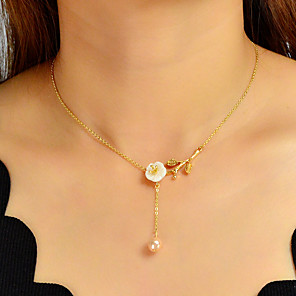 cheap Jewelry Sets-Women's Pendant Necklace Classic Flower Elegant Sweet Imitation Pearl Chrome Gold 40.5 cm Necklace Jewelry 1pc For Gift Daily Engagement