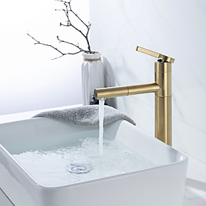 cheap Bathroom Sink Faucets-Bathroom Sink Faucet - Pullout Spray Brushed Gold Centerset Single Handle One HoleBath Taps