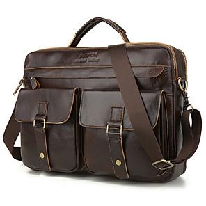 cheap Men's Bags-Men's Zipper Cowhide Briefcase Solid Color Black / Brown