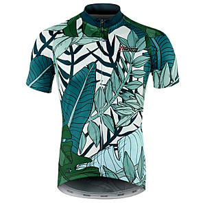 cheap Cycling Jerseys-21Grams Floral Botanical Hawaii Men's Short Sleeve Cycling Jersey - Green Bike Jersey Top Breathable Quick Dry Moisture Wicking Sports 100% Polyester Mountain Bike MTB Road Bike Cycling Clothing