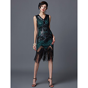 cheap Historical & Vintage Costumes-The Great Gatsby Charleston 1920s Roaring 20s Flapper Dress Dress Women's Sequins Costume Black / Golden / White Vintage Cosplay Party Homecoming Prom Sleeveless Knee Length