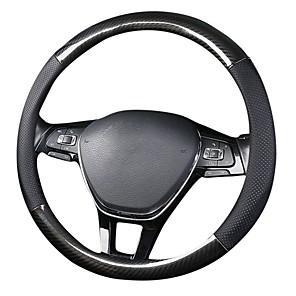 cheap Steering Wheel Covers-Cubierta del volante del coche de 38 cm cubierta del volante del coche de la fibra de carbono de cuero de 38 CM cubierta negra del volante del coche