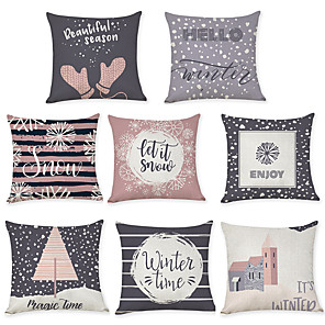 cheap Sale-8 pcs Linen Pillow Cover, Geometric Pattern Graphic Prints Leisure Modern Throw Pillow