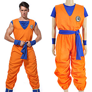cheap Videogame Cosplay Accessories-Inspired by Dragon Ball Son Goku Anime Cosplay Costumes Japanese Cosplay Suits Letter Top Pants Sash / Ribbon For Men's