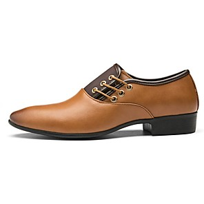 cheap Men's Oxfords-Men's Dress Shoes Fall Casual / British Daily Outdoor Office & Career Oxfords PU Non-slipping Wear Proof Yellow / Brown / Black Color Block