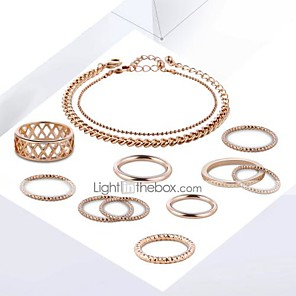 cheap Tattoo Power Supplies-Women's Chain Bracelet Ring Ring Set Cut Out Stylish Unique Design Gold Plated Earrings Jewelry Gold For Daily Work 1 set
