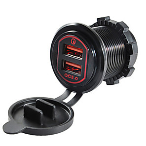 cheap Car Charger-5V QC3.0 Car Charger Dual  USB Ports Aluminium Alloy Output Voltage for Truck Car Motorcycle SUV
