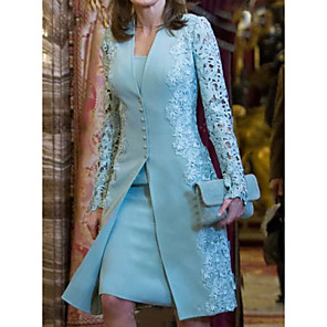 cheap Wedding Wraps-Women's Two Piece Dress - Long Sleeve Solid Color Paisley Lace Formal Style Button Spring Fall Deep V Elegant For Mother / Mom Going out 2020 Light Blue S M L XL XXL XXXL