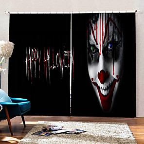 cheap Duvet Cover Sets-Personality Original Horror Clown Decorative Curtains Blackout Shading Fabric Curtain for Sitting Room /Bedroom /Club