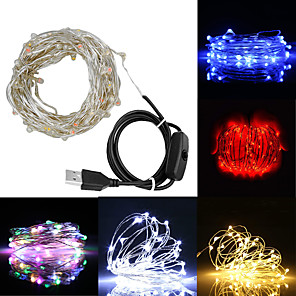 cheap 3D Night Lights-ZDM 10M 100 Leds Fairy lamp string USB Powered Powered Copper Wire Starry Fairy Lights for Decoration with OFFON Switch