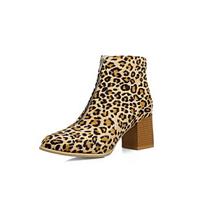 cheap Women's Boots-Women's Boots Print Shoes Chunky Heel Pointed Toe PU Booties / Ankle Boots Fall & Winter Black / Leopard / Yellow