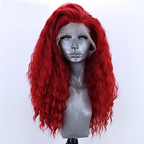 cheap Synthetic Lace Wigs-Synthetic Lace Front Wig Loose Wave Natural Wave Free Part Lace Front Wig Long Red Synthetic Hair 8-12 inch Women's Soft Elastic Women Red / Glueless