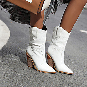 cheap Women's Boots-Women's Boots Cowboy / Western Boots Chunky Heel Pointed Toe PU Fall Light Yellow / Dark Red / White