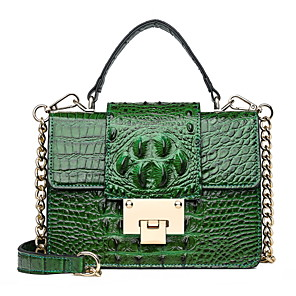 povoljno Tote torbe-Žene Gumbi / Lanac Patent Leather Torba s ručkom Zmijska koža Crn / Braon / purpurna boja