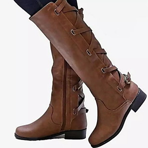 cheap Women's Sandals-Women's Boots Block Heel Round Toe PU Mid-Calf Boots Fall & Winter Black / Brown / Yellow