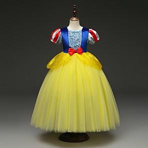 cheap Movie & TV Theme Costumes-Kids Toddler Girls' Active Street chic Patchwork Halloween Patchwork Short Sleeve Midi Dress Yellow