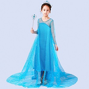 cheap Movie & TV Theme Costumes-Princess Elsa Dress Flower Girl Dress Girls' Movie Cosplay A-Line Slip Blue / White Dress Children's Day Masquerade Tulle Sequin Cotton