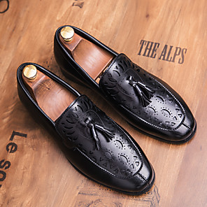 cheap Men's Slip-ons & Loafers-Men's Spring / Summer Business / Classic / Casual Daily Office & Career Loafers & Slip-Ons Faux Leather Breathable Non-slipping Height-increasing Black / Brown / Tassel