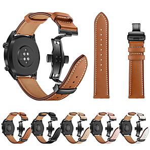 cheap Smartwatch Bands-For Huawei Watch GT Watch Band Black Butterfly Buckle Genuine Leather Strap Bracelet Belt