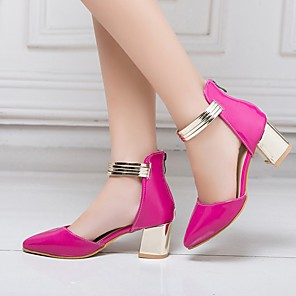 cheap Women's Sandals-Women's Sandals Plus Size Block Heel Closed Toe Casual Daily Office & Career Solid Colored Faux Leather Walking Shoes Summer Black / Fuchsia / Beige
