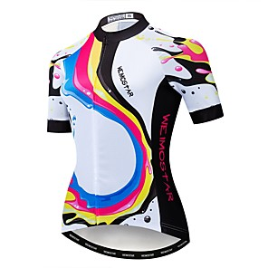 cheap Cycling Jerseys-21Grams Rainbow Women's Short Sleeve Cycling Jersey - White Bike Jersey Top Breathable Quick Dry Sports Polyester Elastane Terylene Mountain Bike MTB Road Bike Cycling Clothing Apparel