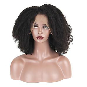 povoljno Perike s ljudskom kosom-Remy kosa Lace Front Perika Srednji dio stil Brazilska kosa Afro Kinky Crna Perika 130% Gustoća kose Žene Kratko Perike s ljudskom kosom beikashang