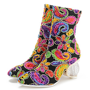 cheap Women's Boots-Women's Boots Plus Size Fantasy Heel Round Toe Classic Chinoiserie Daily Party & Evening Floral Fabric Winter Black