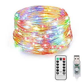 cheap LED String Lights-LOENDE Fairy Lights Plug in 8 Modes 20M 200 LED USB String Lights with Adapter Remote Timer Waterproof Decorative Lights for Bedroom Patio Christmas Wedding Party Dorm Indoor Outdoor