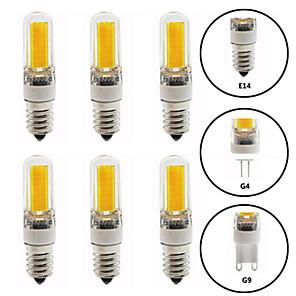 cheap Cluster Design-6pcs 6 W LED Bi-pin Lights 600 lm E14 G9 G4 T 1 LED Beads COB Dimmable New Design Warm White White 220-240 V 110-120 V