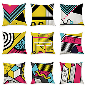cheap Throw Pillow Covers-Set of 9 Linen Pillow Cover, Geometric Pattern Geometic Fashion Modern Throw Pillow
