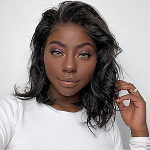 cheap Synthetic Trendy Wigs-Human Hair Lace Front Wig Bob Short Bob Free Part style Brazilian Hair Wavy Black Wig 130% Density with Baby Hair Natural Hairline For Black Women 100% Virgin 100% Hand Tied Women's Short Human Hair