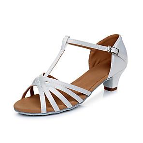 cheap Latin Shoes-Women's Dance Shoes Latin Shoes Heel Cuban Heel Customizable White / Black / Gold