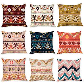 cheap Pillow Covers-9 pcs Linen Pillow Cover, Lines / Waves Geometic Boho Throw Pillow