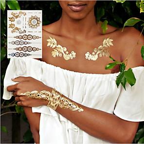 cheap Tattoo Stickers-3pcs new Indian Arabic designs golden silver flash tribal henna tattoo paste metalicos metal tatoo sticker sheets on body hand