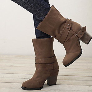 cheap Women's Boots-Women's Boots Chunky Heel Round Toe Canvas Mid-Calf Boots Winter Black / Brown / Gray