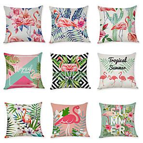 cheap Pillow Covers-9 pcs Linen Cotton / Linen Pillow Cover, Floral Print Bird European Leisure Throw Pillow