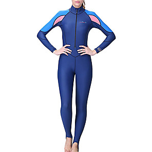 cheap Wetsuits, Diving Suits & Rash Guard Shirts-Dive&Sail Women's Rash Guard Dive Skin Suit Spandex Diving Suit SPF50 UV Sun Protection Quick Dry Full Body Front Zip - Diving Surfing Snorkeling Patchwork