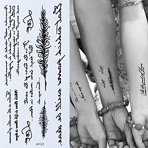 cheap Tattoo Stickers-3pcs Temporary English Word Tattoo Stickers Black Letters Feather Body Art Tattoos Sticker Waterproof For Temporary Tattoos