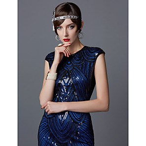 cheap Historical & Vintage Costumes-The Great Gatsby Charleston 1920s Roaring 20s Flapper Dress Cocktail Dress Ball Gown Women's Sequins Tassel Costume Black / Blue Black / Red+Black Vintage Cosplay Party Homecoming Prom Sleeveless