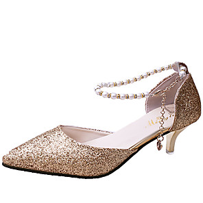 cheap Wedding Shoes-Women's Wedding Shoes Spring &  Fall / Spring & Summer Stiletto Heel Pointed Toe Vintage Sweet Daily Pearl / Sequin Solid Colored Faux Leather Black / Gold / Silver