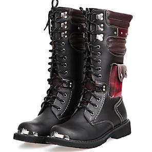 cheap Men's Boots-Men's Comfort Shoes PU Winter Boots Warm Mid-Calf Boots Black
