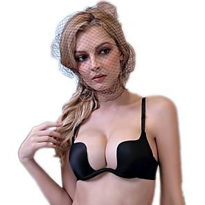 cheap Bras-Women's Push-up Underwire Bra Demi-cup Bras Solid Colored Black Wine White