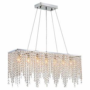 cheap Pendant Lights-6-Light 18CM(7.02inch) Crystal Island Light Crystal Chrome Modern Contemporary 110-120V / 220-240V
