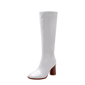 cheap Women's Boots-Women's Boots Knee High Boots Chunky Heel Round Toe Patent Leather Knee High Boots Vintage Fall & Winter Black / White / Burgundy / Party & Evening