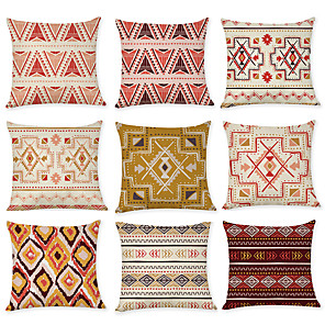 cheap Throw Pillow Covers-Set of 9 Linen Pillow Cover, Abstract Geometic Rustic Leisure Throw Pillow
