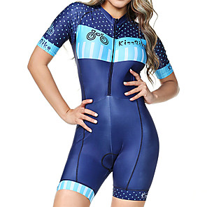 cheap Triathlon Clothing-BOESTALK Women's Short Sleeve Triathlon Tri Suit Blue Polka Dot Stripes Bike Breathable Moisture Wicking Quick Dry Anatomic Design Back Pocket Sports Spandex Polka Dot Mountain Bike MTB Road Bike