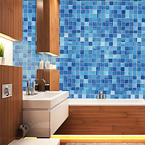 cheap Wall Stickers-Blue Check Self Adhesive Wallpaper 3D Waterproof Home Decor Wallpapers for Living Room Decorative Wall Stickers 45CM*100CM