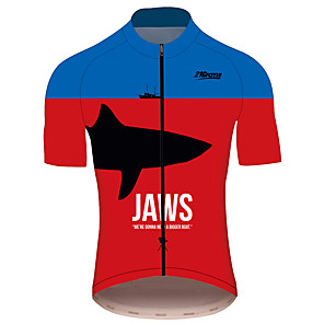 cheap Cycling Jerseys-21Grams JAWS Movie Men's Short Sleeve Cycling Jersey - Red+Blue Bike Jersey Top Breathable Quick Dry Reflective Strips Sports 100% Polyester Mountain Bike MTB Road Bike Cycling Clothing Apparel